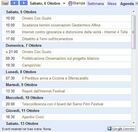 Calendario Orvieto Civica