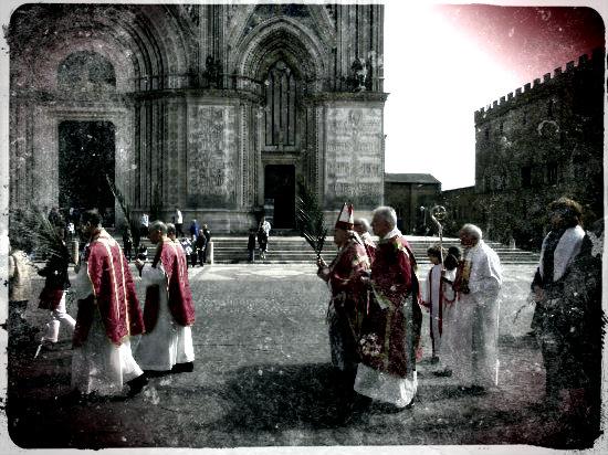 Cartolina processione duomo, Orvieto, Domenica delle Palme