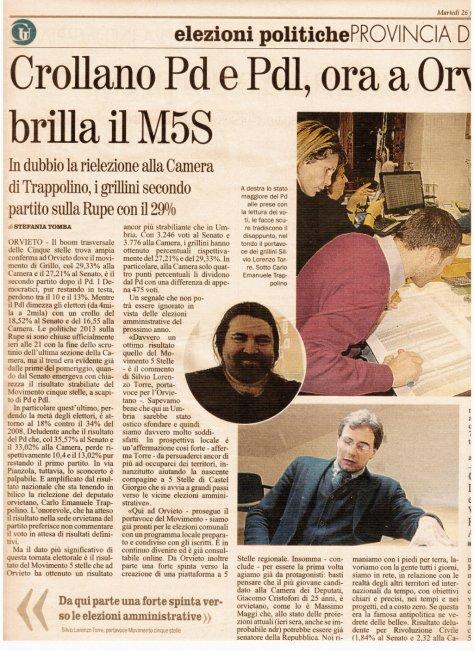 giornale umbria 2013-02-26 (risultati elezioni ad Orvieto)
