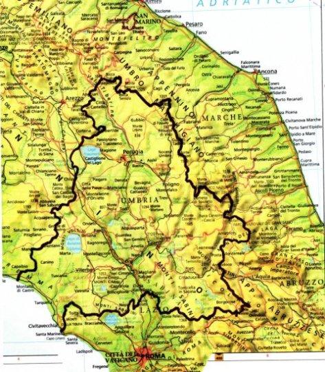 Macroaree amministrative Umbra Tosco Sabina con contiguità storiche ed affinità culturali, tradizionali e di produzione