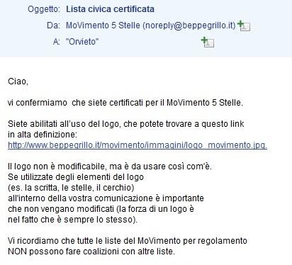 certificazione per la lista Orvieto5Stelle