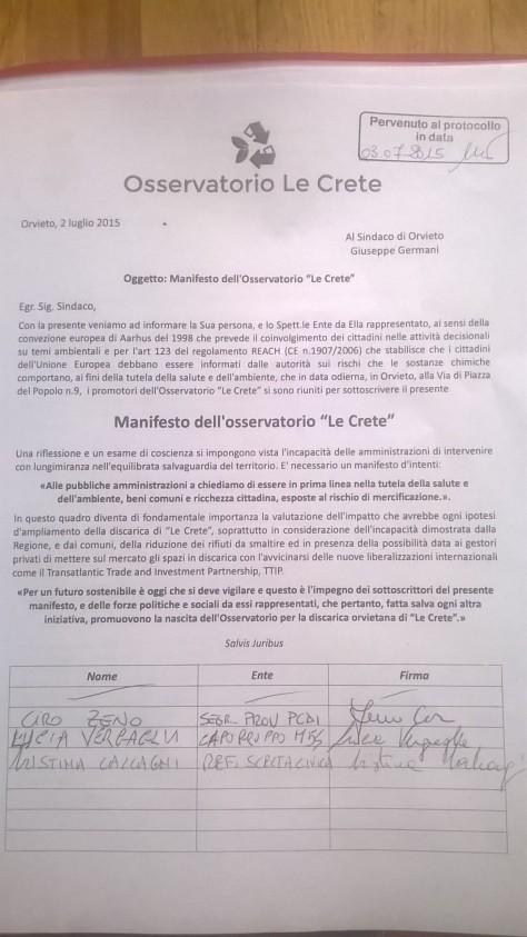 documento manifesto Le Crete depositato