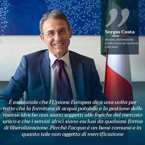 Sergio Costa ministro ambiente m5s per l'acqua pubblica