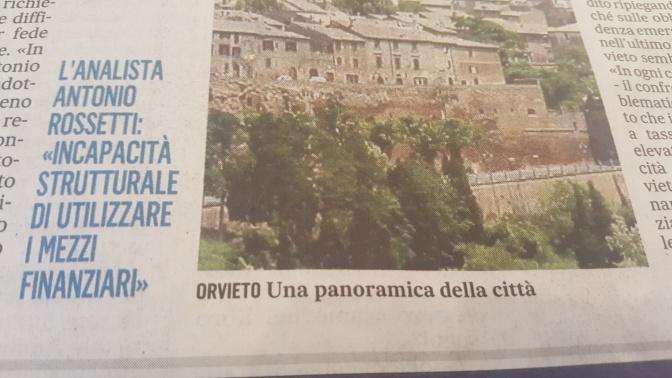 Finanza locale ad Orvieto.  Chi è colpa del suo mal pianga se stesso.
