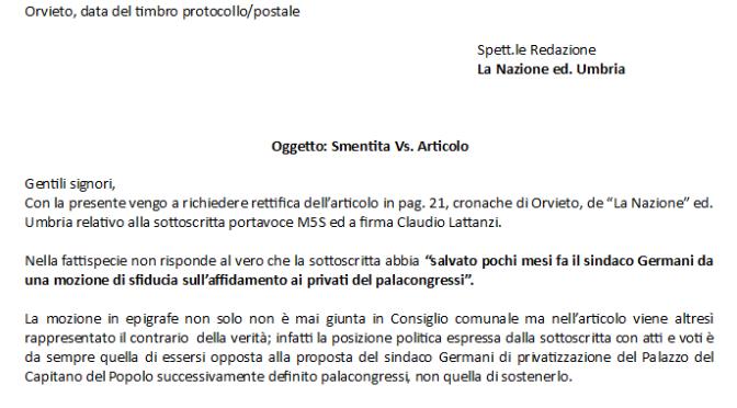 Vergaglia (M5S): doverosa smentita di La Nazione su Palacongressi Orvieto