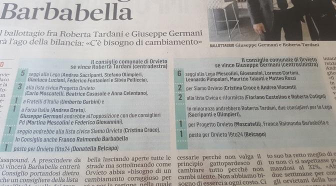 -10 al ballottaggio Orvieto. Si sgonfia l'effetto liste numerose.